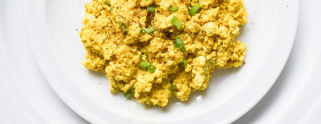 tofu scramble, scallion, vegan scrambled eggs