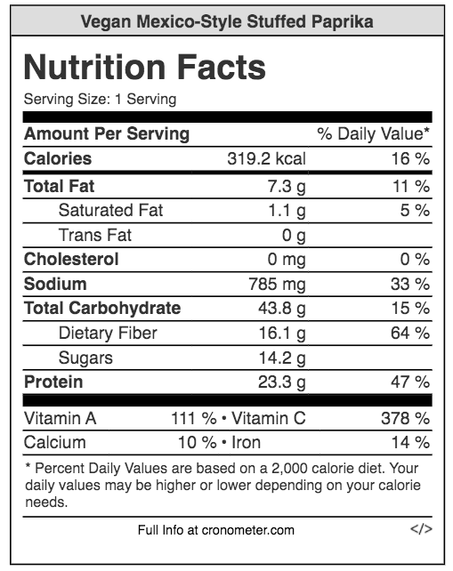 Nutrition facts, stuffed paprika, vegan food, mexican cuisine