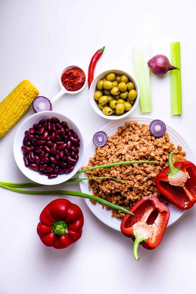 Vegan, healthy, stuffed bell peppers, recipe, ingredients, vegetables, legumes